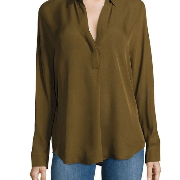 05e1a6cab944e1 Vince Tops | Long Sleeve Silk Top Nwt Olive Green | Poshmark